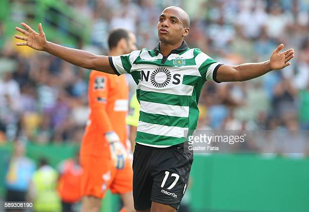 Sporting CP's midfielder Joao Mario reacts after missing a goal opportunity during the Primeira Liga match between Sporting CP and CS Maritimo at...