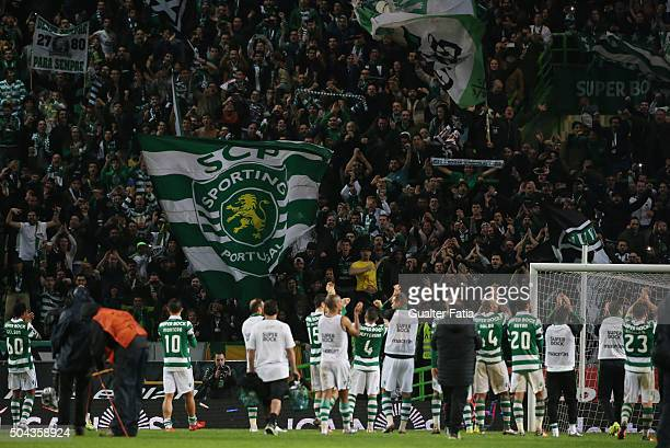 Sporting CP's players celebrate with supporters the victory at the end of the Primeira Liga match between Sporting CP and SC Braga at Estadio Jose...