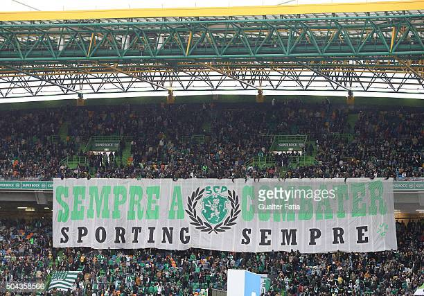 Sporting CP's supporters before the start of the Primeira Liga match between Sporting CP and SC Braga at Estadio Jose Alvalade on January 10 2016 in...