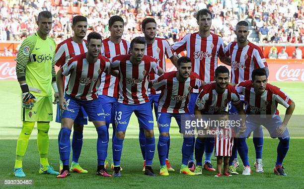 Sporting de Gijon's team pose prior during the Spanish league football match Real Sporting de Gijon vs Athletic Club Bilbao at El Molinon stadium in...
