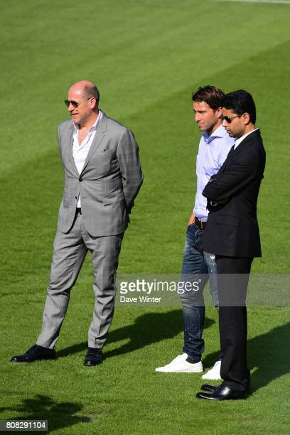 PSG sporting director Antero Henrique former player Sherrer Maxwell of PSG who has now joined the staff and PSG president Nasser AlKhelaifi during...
