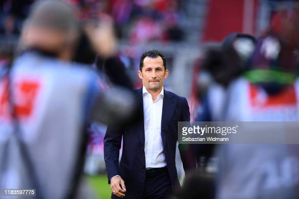 Sporting director Hasan Salihamidzic of Bayern Munich looks on prior to the Bundesliga match between FC Bayern Muenchen and 1. FC Union Berlin at...