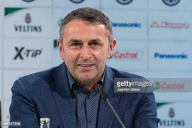 Sporting Director Klaus Allofs of VfL Wolfsburg talks to the media during a press conference at Volkswagen Arena on September 1 2015 in Wolfsburg...