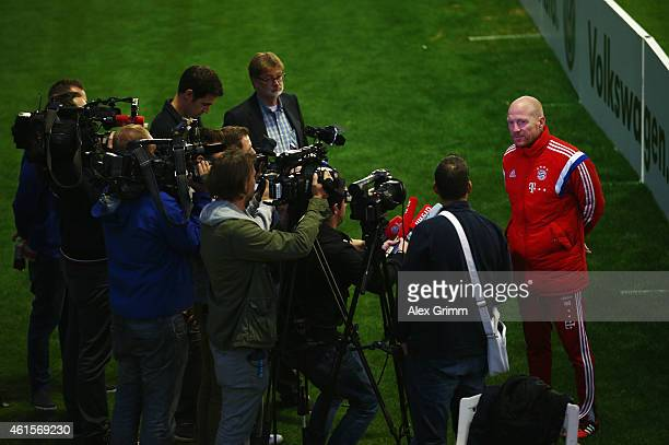 Sporting director Matthias Sammer talks to the media during day 7 of the Bayern Muenchen training camp at ASPIRE Academy for Sports Excellence on...