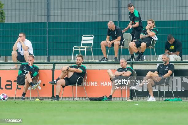Sporting director Max Eberl of Borussia Moenchengladbach, assistant coach Alexander Zickler of Borussia Moenchengladbach, assistant coach Rene Maric...