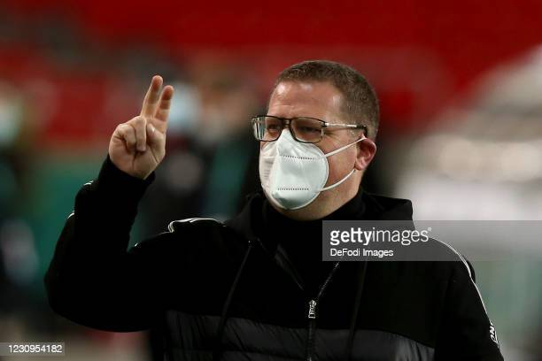 Sporting director Max Eberl of Borussia Moenchengladbach gestures during the DFB Cup Round of Sixteen match between VfB Stuttgart and Borussia...