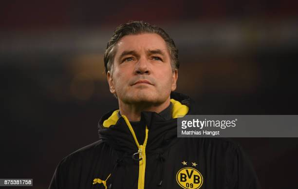 Sporting director Michael Zorc is seen prior to the Bundesliga match between VfB Stuttgart and Borussia Dortmund at MercedesBenz Arena on November 17...