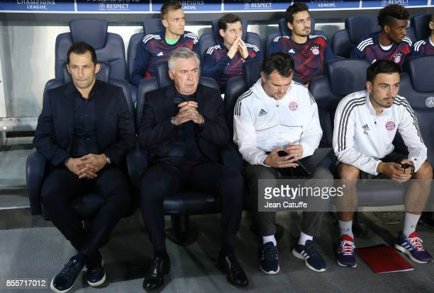 Sporting Director of Bayern Munich Hasan Salihamidzic coach Carlo Ancelotti assistant coach Willy Sagnol assistant coach Davide Ancelotti during the...