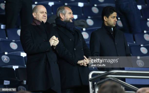 Sporting Director of PSG Antero Henrique Director of PSG JeanClaude Blanc President of PSG Nasser Al Khelaifi during the UEFA Champions League group...