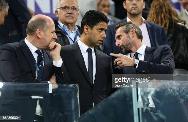 Sporting Director of PSG Antero Henrique President of PSG Nasser Al Khelaifi Director of PSG JeanClaude Blanc attend the UEFA Champions League match...