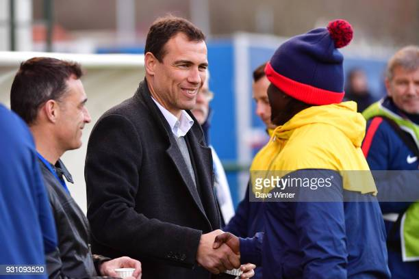 Sporting director of PSG women section Bruno Cheyrou and PSG assistant coach Bernard Mendy during the Women's Division 1 match between Paris Saint...
