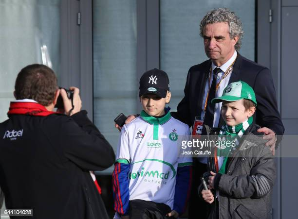 Sporting Director of SaintEtienne Dominique Rocheteau poses for a photo before the UEFA Europa League Round of 32 second leg match between AS...