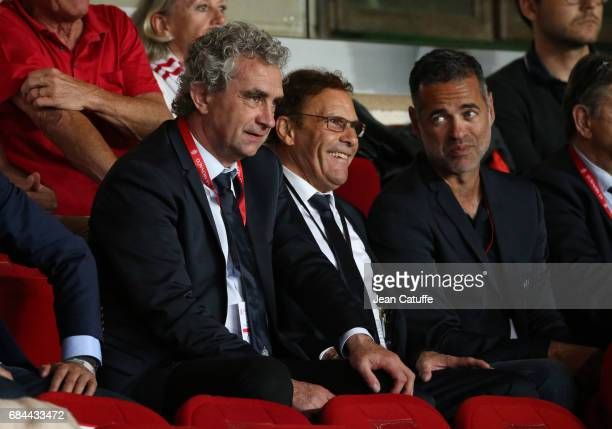 Sporting Director of SaintEtienne Dominique Rocheteau VicePresident of SaintEtienne Roland Romeyer during the French Ligue 1 match between AS Monaco...