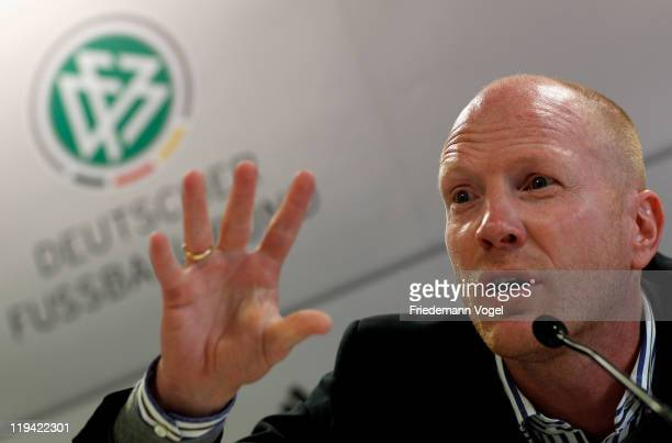Sporting director of the German Football Association Matthias Sammer attends the press conference at the HennesWeisweilerAkademie on July 20 2011 in...