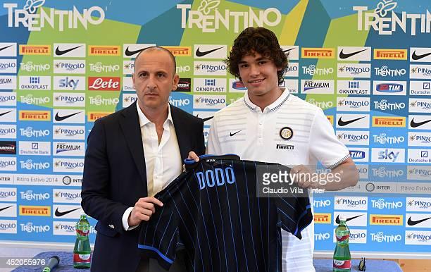 Sporting Director Piero Ausilio and Dodo of FC Internazionale Milano during a press conference on July 12 2014 in Pinzolo near Trento Italy