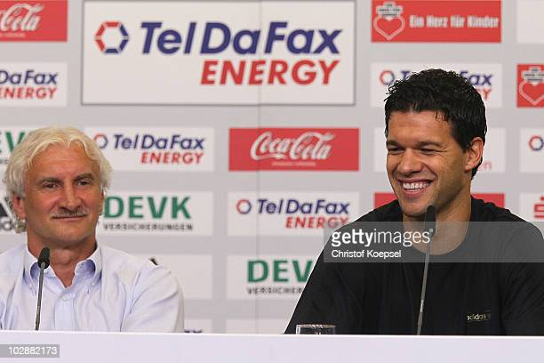 Sporting director Rudi Voeller and Michael Ballack attend the press conference of Bayer Leverkusen at the BayArena on July 14 2010 in Leverkusen...