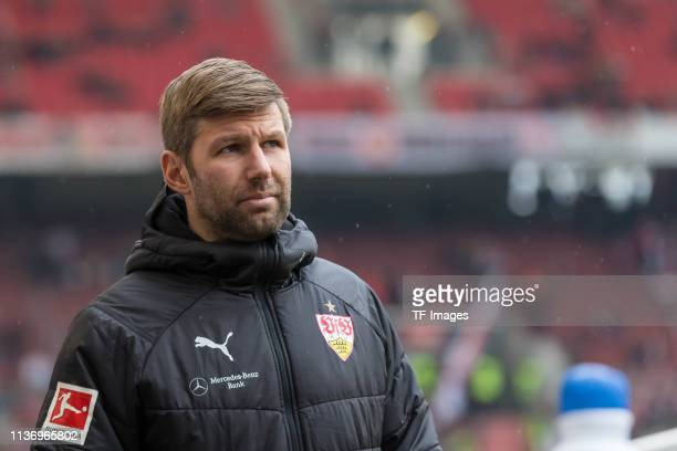 Sporting director Thomas Hitzlsperger of VfB Stuttgart looks on prior to the Bundesliga match between VfB Stuttgart and Bayer 04 Leverkusen at...