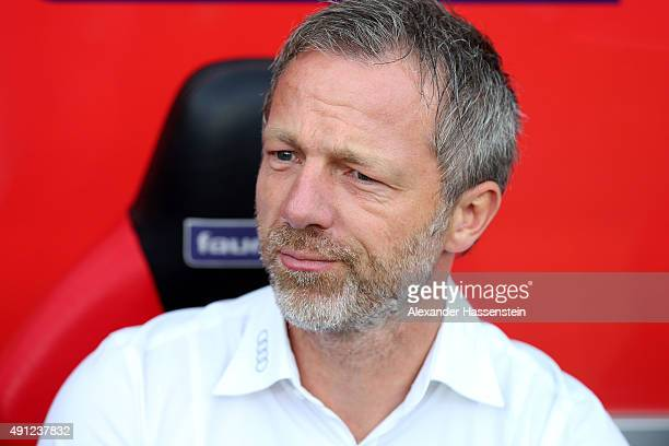 Sporting director Thomas Linke of Ingolstadt looks on prior to the Bundesliga match between FC Ingolstadt and Eintracht Frankfurt at Audi Sportpark...