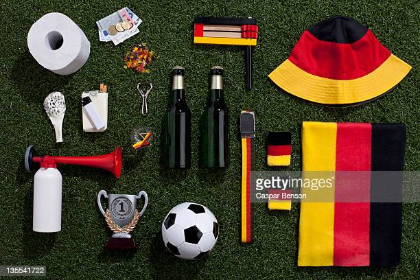 sporting equipment and accessories arranged on turf - accessoires stock-fotos und bilder