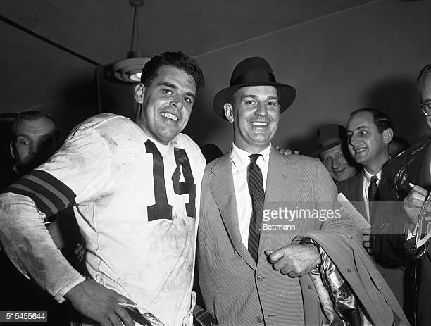 Sporting great big smiles following the Cleveland Browns 3814 victory over the Los Angeles Rams are Otto Graham and coach Paul Brown Graham who is...