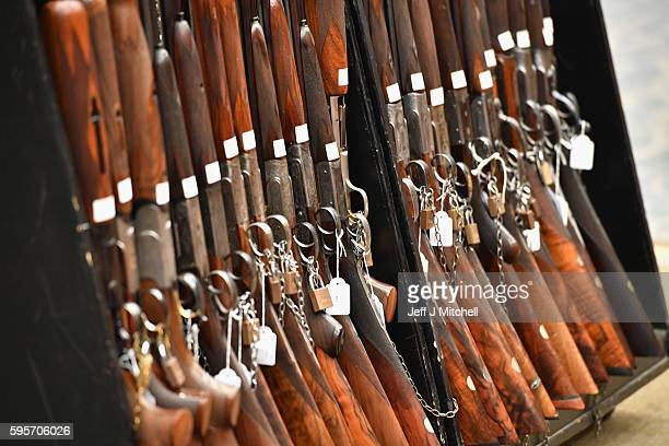 Sporting guns and rifles on display at Gleneagles Hotel on August 26 2016 in Aucterarder Scotland The annual auction of Fine Modern and Vintage...