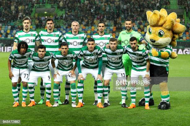 Sporting initial team during the match between Sporting CP and Atletico Madrid UEFA Europa League Quarter Final Leg Two at the Estadio Jose Alvalade...