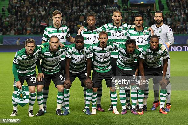 Sporting initial team during the Sporting Clube de Portugal v Real Madrid CF UEFA Champions League round five match at Estadio Jose Alvalade on...