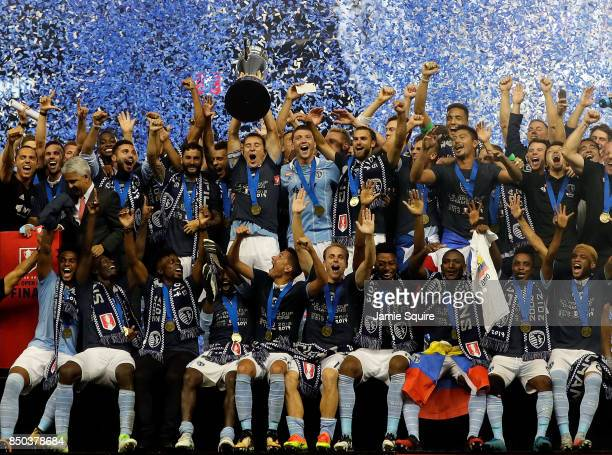 Sporting Kansas City celebrate with the trophy after they defeated New York Red Bulls 21 to win the 2017 US Open Cup Final at Children's Mercy Park...