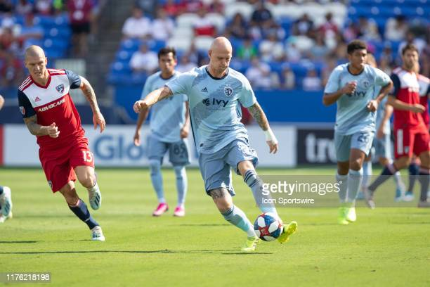 SOCCER Sporting Kansas City defender Botond Barath passes the ball during the MLS soccer game between FC Dallas and Sporting Kansas City on October...