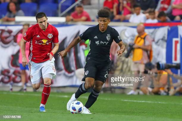 Sporting Kansas City defender Jaylin Lindsey during the second half of the Major League Soccer game between Sporting Kansas City and the New York Red...