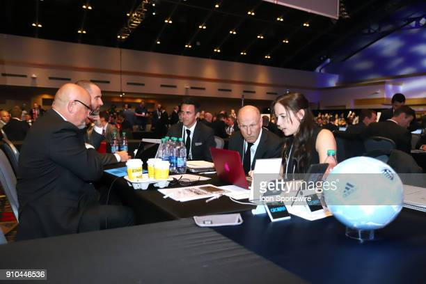 Sporting Kansas City draft table with Meghan Cameron Brian Bliss and Kerry Zavagnin during the MLS SuperDraft 2018 on January 19 at the Pennsylvania...