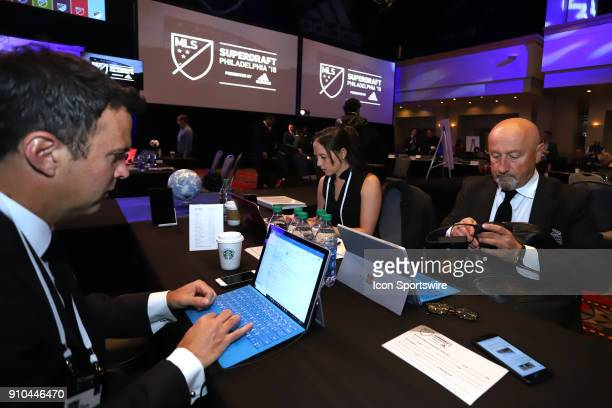 Sporting Kansas City draft table with Meghan Cameron Zoran Savic and Kerry Zavagnin during the MLS SuperDraft 2018 on January 19 at the Pennsylvania...