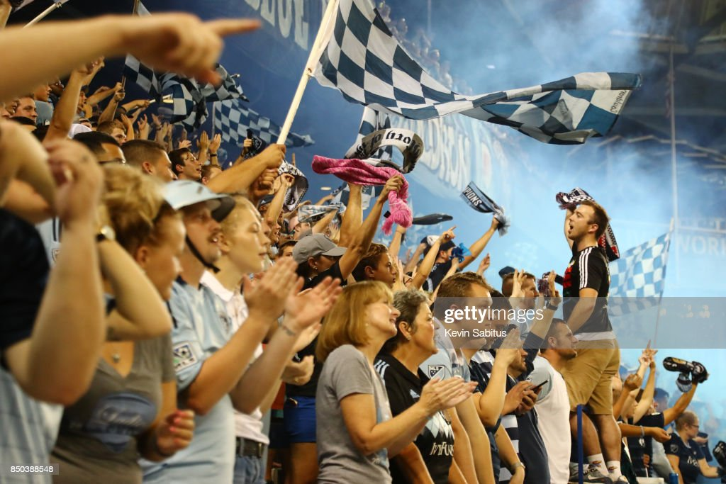 Sporting Kansas City fans celebrate after a goal in the US Open Cup Final match against the New York Red Bulls at Children's Mercy Park on September 20, 2017 in Kansas City, Kansas.