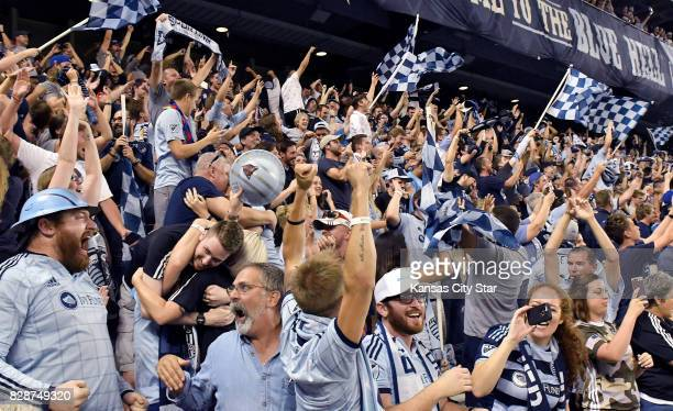 Sporting Kansas City fans celebrate after Sporting won on penalty kicks against the San Jose Earthquakes in the US Open Cup semifinals at Children's...