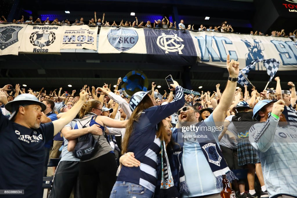 Sporting Kansas City fans celebrate after winning the US Open Cup match against the New York Red Bulls at Children's Mercy Park on September 20, 2017 in Kansas City, Kansas.