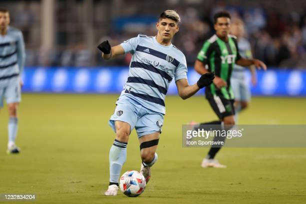 Sporting Kansas City forward Alan Pulido in the second half of an MLS match between Austin FC and Sporting KC on May 09, 2021 at Children's Mercy...