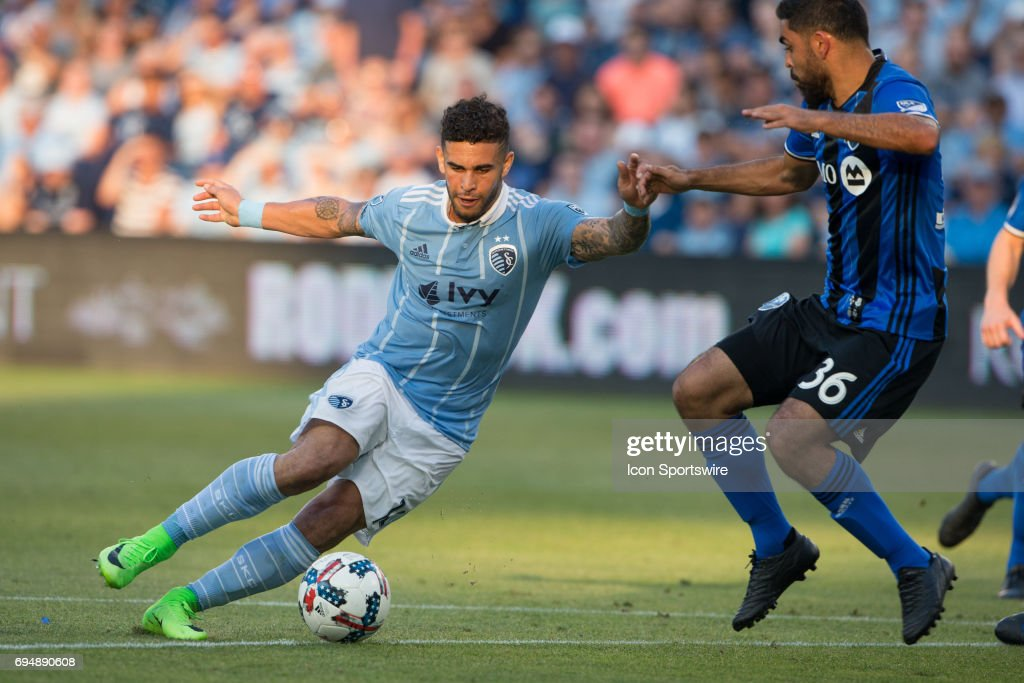 Sporting Kansas City forward Dom Dwyer (14) during the MLS soccer match between the Montreal Impact and Sporting Kansas City on June 10, 2017 at Children's Mercy Park in Kansas City, Missouri. The match ended in a 1-1 tie.