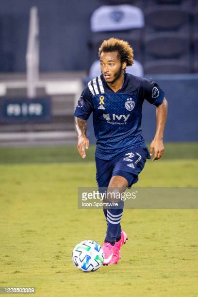 Sporting Kansas City forward Gianluca Busio brings the ball up field during the second half against the Minnesota United on September 13, 2020 at...