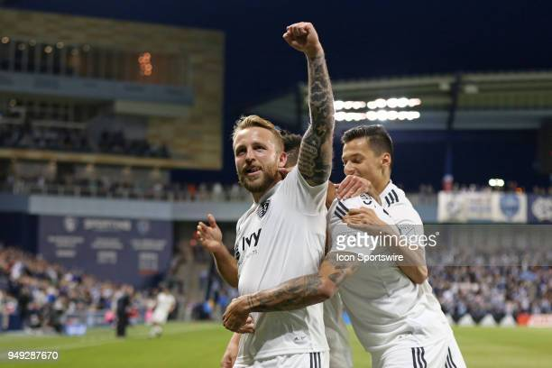 Sporting Kansas City forward Johnny Russell after his first of two goals in the first half of an MLS match between the Vancouver Whitecaps FC and...