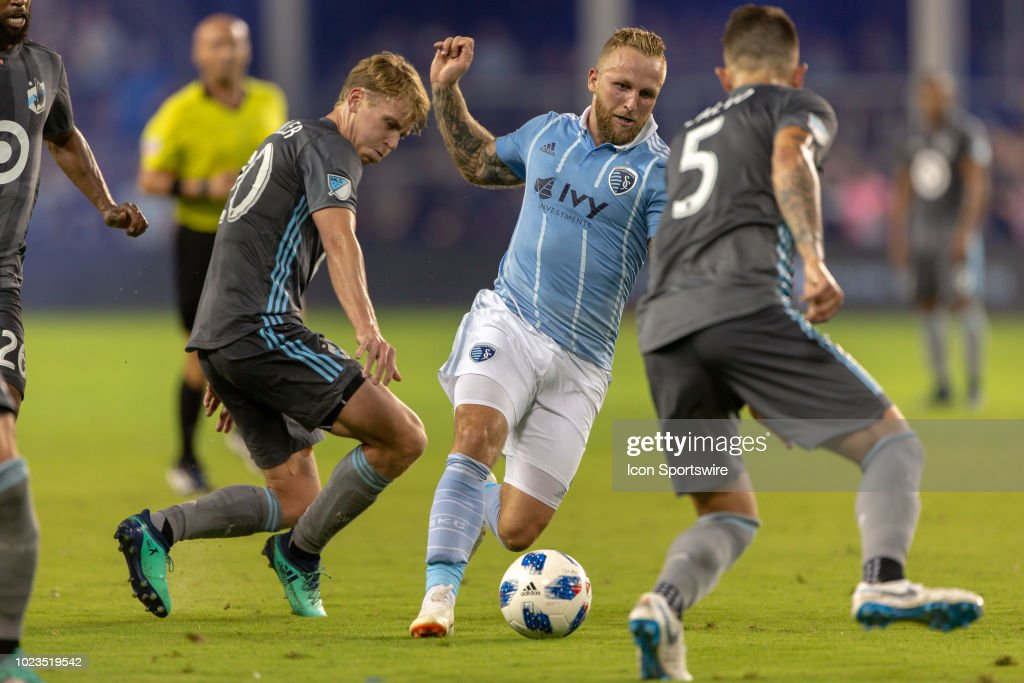 Sporting Kansas City forward Johnny Russell (7) in action during the MLS game against the Minnesota United on August 25, 2018 at Children's Mercy Park in Kansas City, Kansas.