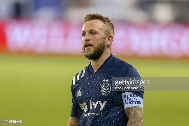 Sporting Kansas City forward Johnny Russell looks frustrated late in the second half of the MLS Western Conference Semifinal between Minnesota United...