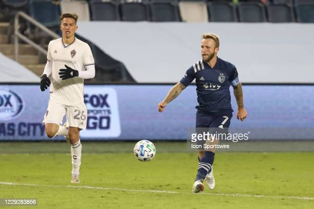 Sporting Kansas City forward Johnny Russell makes a pass in the second half of an MLS match between the Colorado Rapids and Sporting Kansas City on...