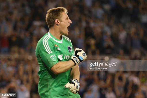 Sporting Kansas City goalkeeper Tim Melia celebrates after making the final save in penalty kicks to secure the win for Sporting KC in the Lamar Hunt...
