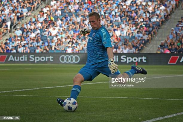 Sporting Kansas City goalkeeper Tim Melia clears the ball in the first half of an MLS match between the Columbus Crew SC and Sporting Kansas City on...