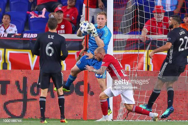 Sporting Kansas City goalkeeper Tim Melia makes a save during the second half of the Major League Soccer game between Sporting Kansas City and the...
