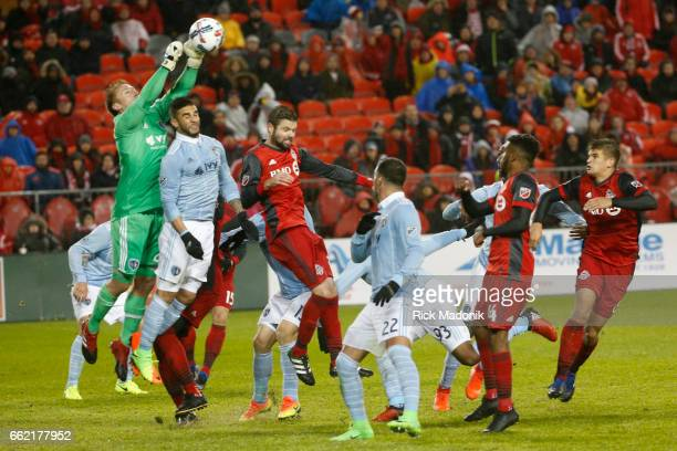 Sporting Kansas City goalkeeper Tim Melia punches out a corner kick Toronto FC vs Sporting Kansas City in 2nd half action TFC's home opener of...