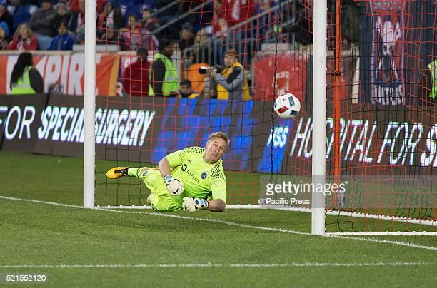 Sporting Kansas City goalkeeper Tim Melia saves goal during MLS soccer game against New York Red Bulls at Red Bull Arena Sporting Kc beats New York...