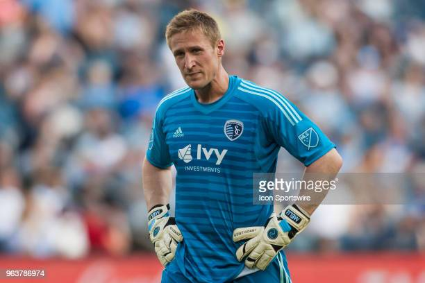 Sporting Kansas City goalkeeper Tim Melia takes a breather during the MLS regular season match between Sporting Kansas City and the Columbus Crew on...