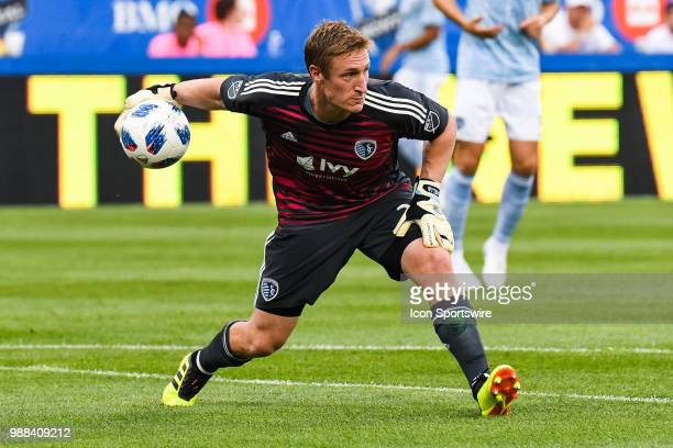 Sporting Kansas City goalkeeper Tim Melia throws the ball back into play during the Sporting Kansas City versus the Montreal Impact game on June 30...