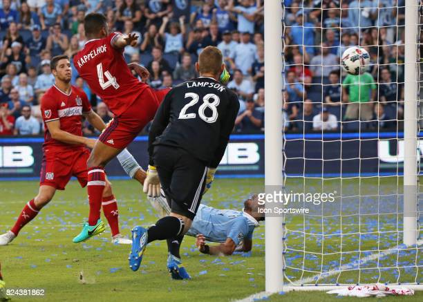 Sporting Kansas City midfielder Benny Feilhaber scores on a bicycle kick late in the first half of an MLS match between the Chicago Fire and Sporting...
